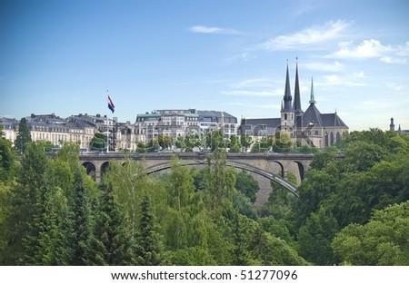 Luxembourg city scene - stock photo