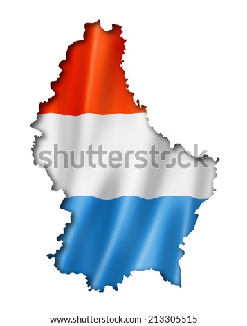 Luxembourg flag map, three dimensional render, isolated on white - stock photo