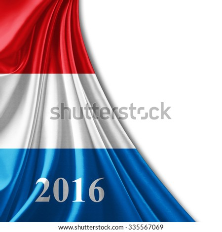 luxembourg flag of silk ,number 2016 with copyspace for your text or images and white background - stock photo