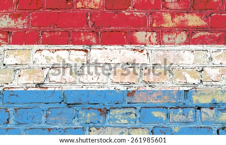 Luxembourg flag painted on old brick wall texture background