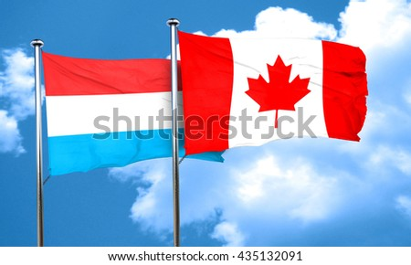 Luxembourg flag with Canada flag, 3D rendering
