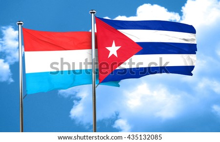 Luxembourg flag with cuba flag, 3D rendering