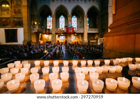 LUXEMBOURG, LUXEMBOURG - JUNE 17, 2015: Interior Notre-Dame Cathedral. Grand Duchy of Luxembourg. It was originally a Jesuit church, and its cornerstone was laid in 1613. - stock photo