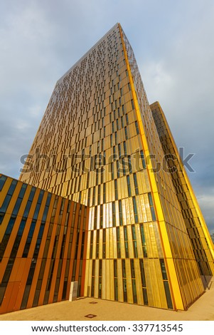LUXEMBOURG, LUXEMBOURG - NOVEMBER 04, 2015: modern building and seat of the European Court of Justice -ECJ- on the Kirchberg Plateau. Its the highest court in the EU in matters of European Union law - stock photo