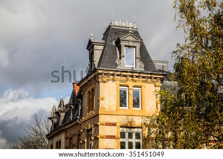 LUXEMBOURG - OCTOBER 30, 2015: Traditional architecture of vintage European buildings in Luxembourg.