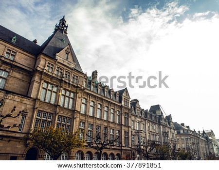 LUXEMBOURG - OCTOBER 30, 2015: Traditional architecture of vintage European buildings on October 30 in Luxembourg.