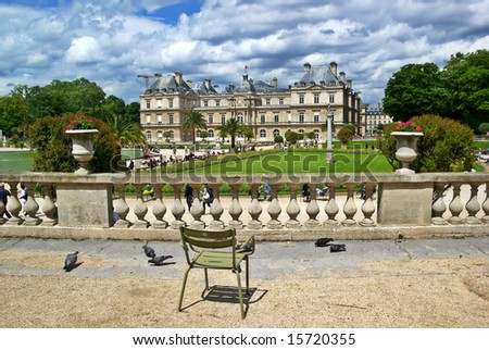 Luxembourg Palace and Garden in Paris. At the moment Senate of France. - stock photo