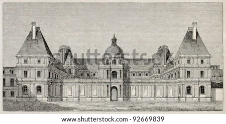 Luxembourg palace old view, Paris. By unidentified author, published on Magasin Pittoresque, Paris, 1845 - stock photo