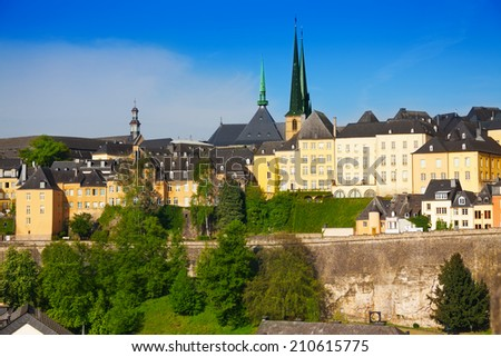 Luxemburg panorama view from high point in summer - stock photo