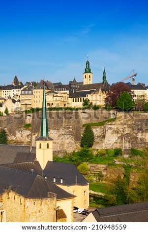 Luxemburg view from high point on city wall - stock photo