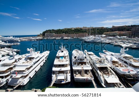 Luxery yachts in the Monte Carlo harbour, Monaco - stock photo