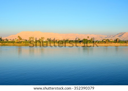 LUXOR, EGYPT - DECEMBER 3 2015:  West Bank of the Nile in Luxor is the gateway to the Valley of the Kings, Temple of Hatshepsut and other archaeological sites.