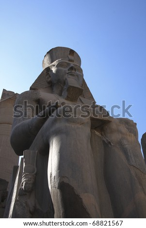 Luxor Temple, Egypt, one of the main staues which flank the entrance to the temple