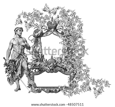 Luxuriosly illustrated old victorian frame with man.