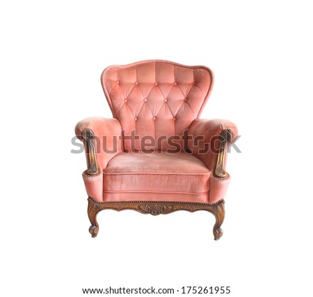 Luxurious armchair isolate with clipng part - stock photo