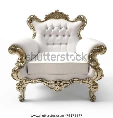 Luxurious armchair isolated on white background - stock photo