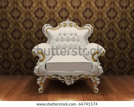 luxurious armchair with decoration frame in old styled interior