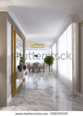 Luxurious Artdeco Entrance Hall Large Designer Stock Illustration 508594234
