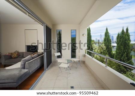 Luxurious balcony onverlooking the city - stock photo