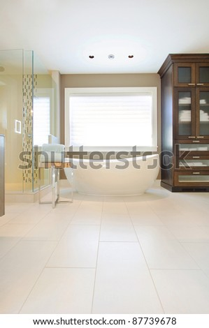 Luxurious Bathroom in Newly Constructed Modern Home - stock photo