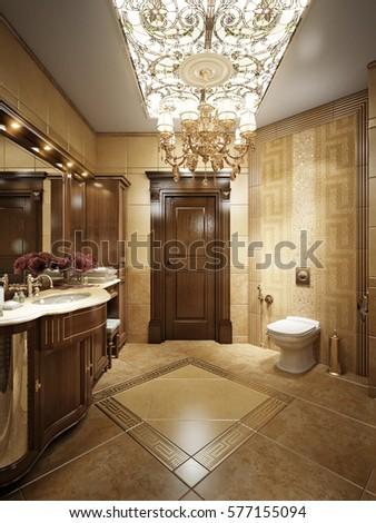 Luxurious Bathroom Interior Classic Style Crystal Stock Illustration ...