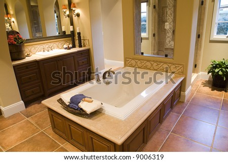 Luxurious bathroom with a modern tub. - stock photo