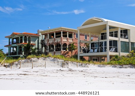 Luxurious Beach Front Homes on the Gulf of Mexico - stock photo