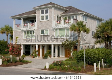 Luxurious beach house - stock photo