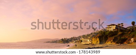 luxurious beach houses, southern California, sunset - stock photo