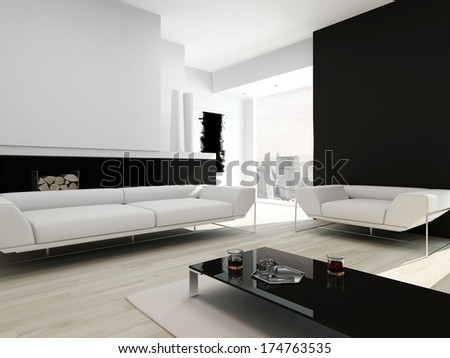 Luxurious black and white living room interior - stock photo