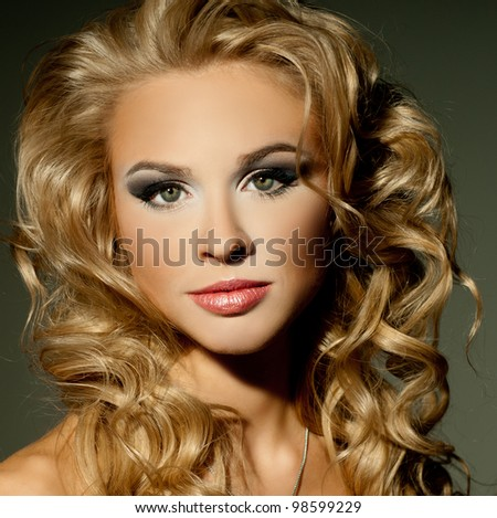 luxurious blonde with curly hair - stock photo