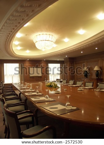 Luxurious boardroom ready for business meeting - stock photo