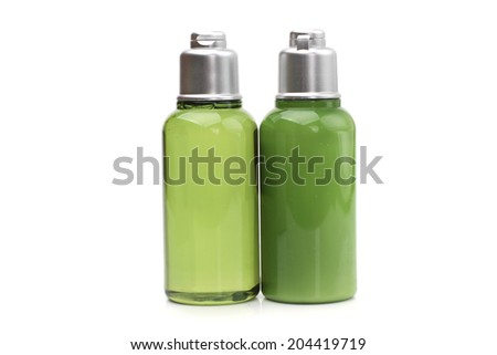 Luxurious body care products background. Soap, bath salt and shampoo and peeling.   - stock photo