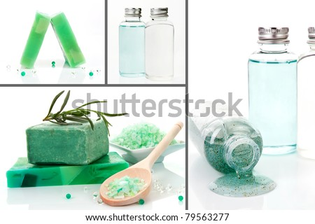 Luxurious body care products background. Soap, bath salt and shampoo and peeling. Collage. - stock photo
