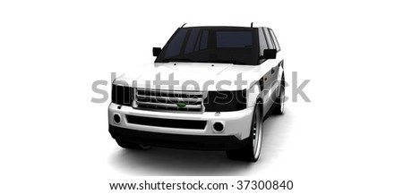 Luxurious British SUV isolated on white - stock photo