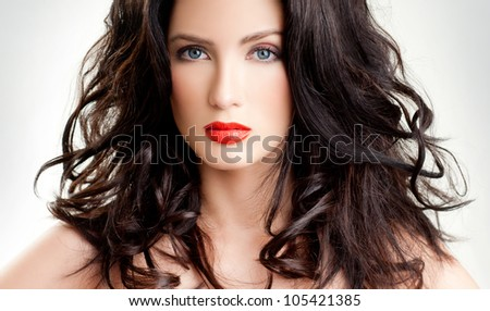 luxurious brunette. beautiful hair. - stock photo