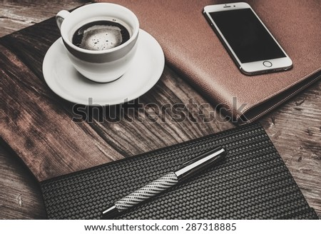 Luxurious businessman tools on a wooden table  - stock photo
