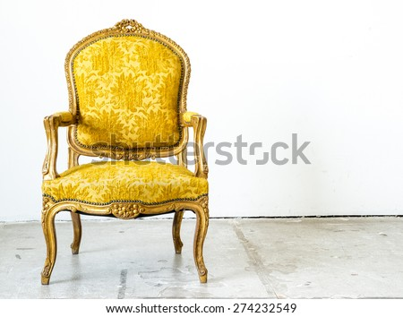 Luxurious classical vintage armchair on white background - stock photo