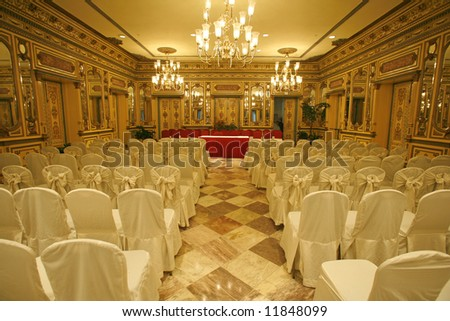 luxurious conference hall in hotel - stock photo