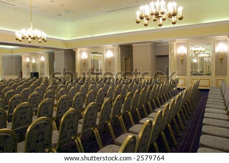 Luxurious conference room ready for audience - stock photo