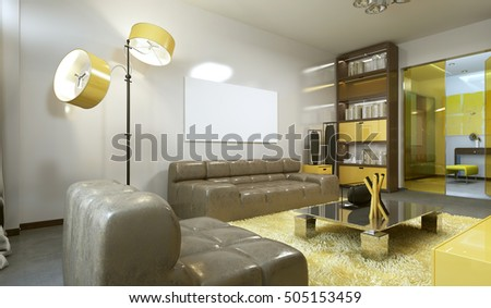 Luxurious contemporary living room in pale grey, yellow and brown. Leather sofa, a bookcase and a workspace. 3D render.