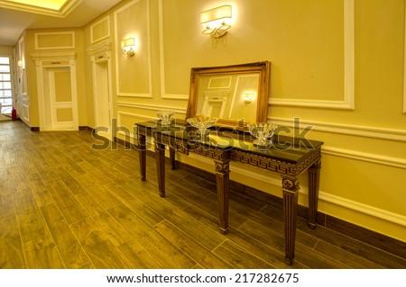 Luxurious corridor in a hotel - stock photo