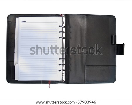 Luxurious deep brown leather organizer on white background - stock photo