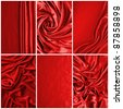 Luxurious deep satin/silk folded fabric, useful for backgrounds - stock photo