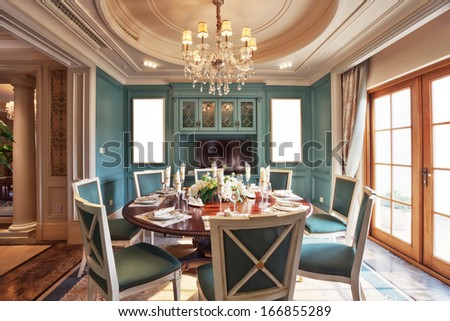luxurious dining room - stock photo