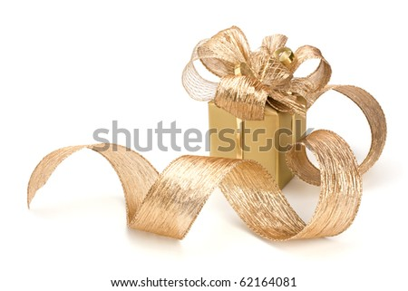 Luxurious gift isolated on white background - stock photo