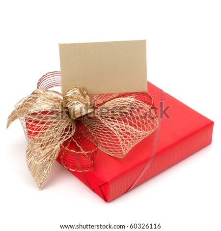 Luxurious gift with note isolated on white background - stock photo