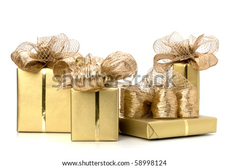 Luxurious gifts isolated on white background - stock photo