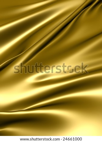 Luxurious gold silky satin fabric - stock photo