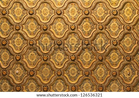 Luxurious golden ceiling pattern in Cairo Egypt - stock photo